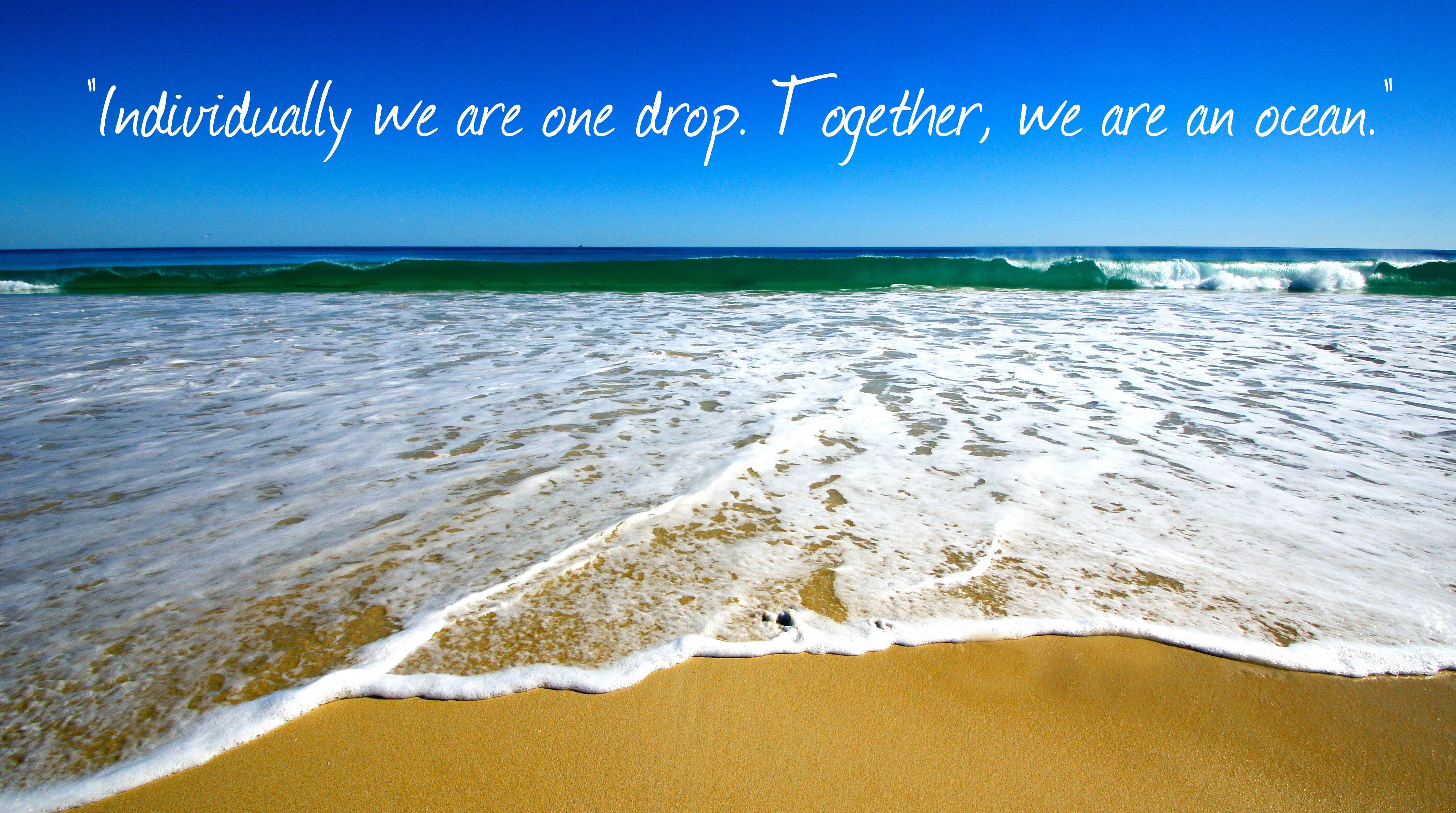 INDIVIDUALLY WE ARE ONE DROP. TOGETHER WE MAKE AN OCEAN.